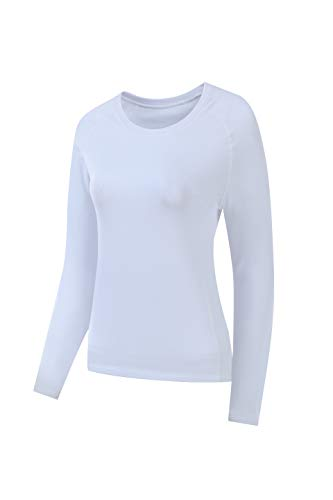 Nooz Women's Dry Fit Athletic Fleece Lined Thermal Compression Long Sleeve T Shirt - White, US Large (Labeled XL)