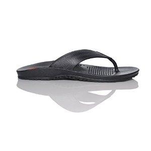Okabashi Men's Surf Flip Flops (Black, L) | Provide Arch Support | Great for Indoors, Outdoors, Beach, Summer