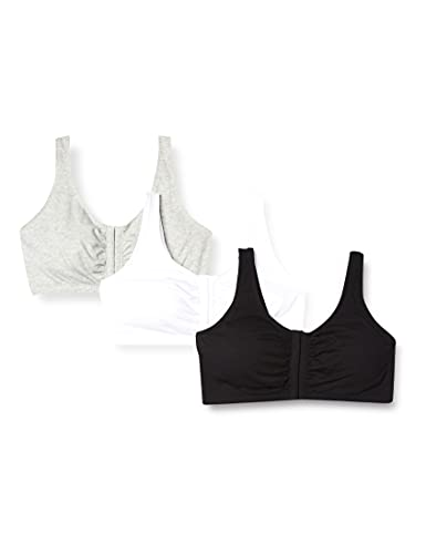 Fruit of the Loom Women's Front Close Builtup Sports Bra 3-Pack (one Set of Pads) Bra, Black/White/Heather Grey, 42