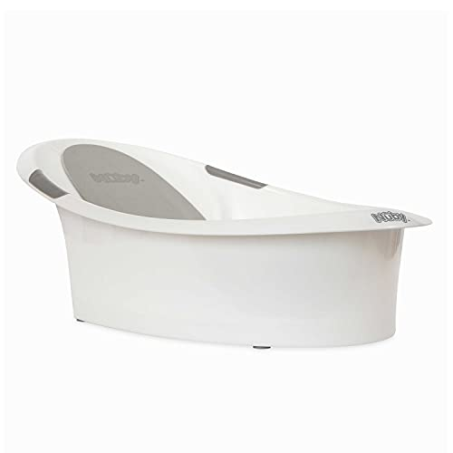 Nuby Baby Bath with Built in Seat and Soft Headrest, White and G