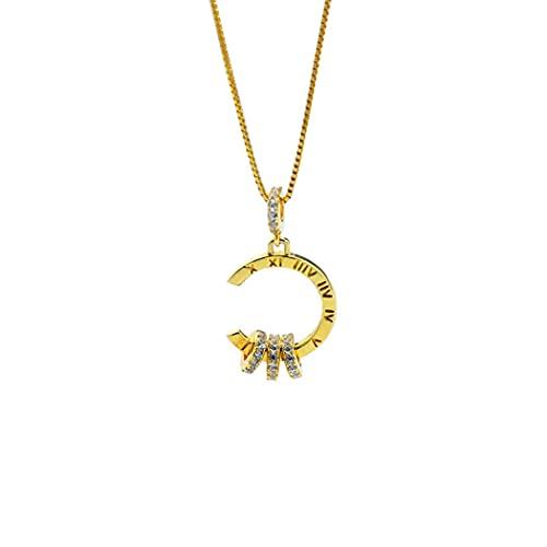 BLLXMX Collar de joyería para Mujer, Joyas de circonita cúbica, Regalos para Mujer, Regalo para el día de San Valentín, para niñas/Novia/Largo de Cadena 41 + 3,5 Cm,Gold-Ladies Necklace
