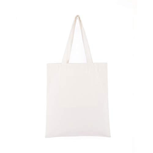 Dengeng, strapazierfähige Canvas, unifarben, Einkaufstasche, Schultertasche, wiederverwendbar, weiß, 34 x 39cm / 13.3 x 15.3' (Approx)