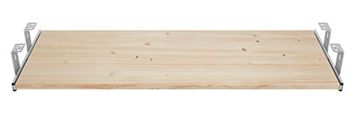 FIX&EASY Guías con bandeja 600X400mm abeto pino madera maciza, corredera extraible galvanizado 400mm set cajón con extracto porte teclado ratón laptop