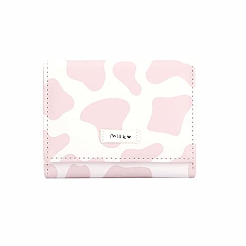 Girls Cute Cow Print Tri-folded Wallet Small Wallet Cash Pocket Card Holder ID Window Purse for Women