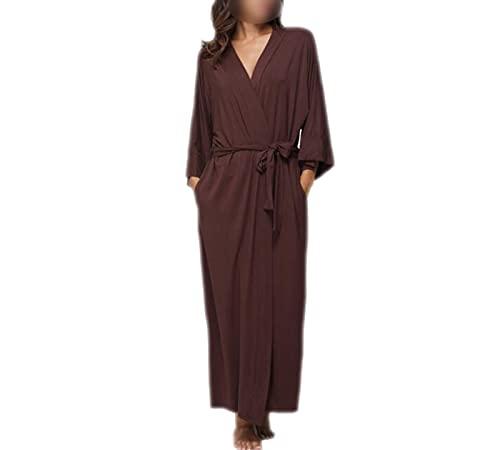 Bathrobe - Albornoz para mujer, suave, pijama para otoño marrón XL