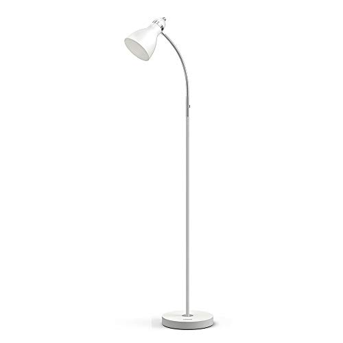 LEPOWER Metal Floor Lamp, Adjustable Goose Neck Standing Lamp with Heavy Metal Based, E26 Lamp Base, Torchiere Light for Living Room, Bedroom, Study Room and Office(White)