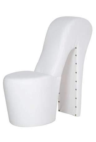 Generisch High Heel Schuhsessel 42x99x79cm Stuhl Designersessel mit Nieten (weiß)