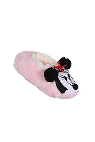 Chaussons d'intérieur souples fausse fourrure filles Minnie Disney Rose et Rouge du 25 au 32 (Rose, EU, numeric_25)