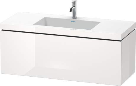 Duravit Duravit Waschtischunterbau L-CUBE mit Waschtisch Vero Air, 500 x 1200 x 480 mm 1 Hahnloch weiß matt