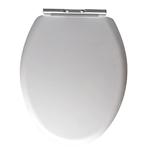 TANTAO Asiento de inodoro con función de liberación rápida y cierre suave, forma de O, color blanco