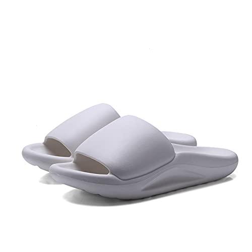 NUGKPRT chanclas,Zapatillas minimalistas de moda para el hogar, hombres, mujeres, verano, toboganes de interior, baño, antideslizante, zapatillas de suela gruesa para baño, 40-41 blanco