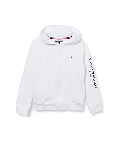 Tommy Hilfiger Essential Hooded Zip Through Maglione, White, 10 Bambino