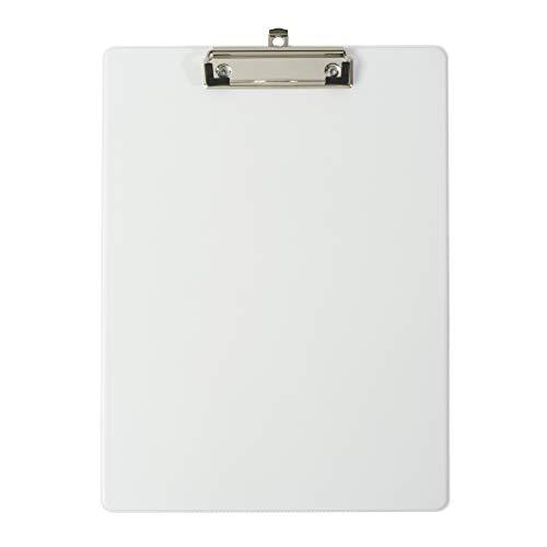 Exacompta 19296E Porta blocco in cartone Balacron con busta in plastica e clip con sistema di fissaggio a parete Formato 23 cm x 32 cm per documenti in formato A4 colore bianco