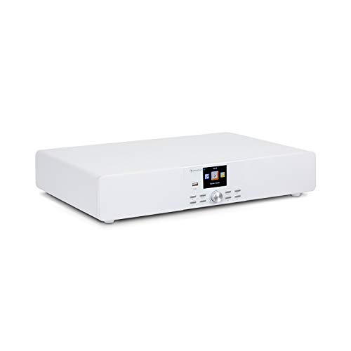 AUNA Stealth Base - Connect Soundbase, 2x15 W + 30 W RMS, Radio Web DAB+ FM, Bluetooth, AirMusic Control App, Display LC da 2,8 , Porta USB, Ingresso Line, Bianco