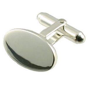 APS Boutons de manchette ovales en argent 925 gravée sans Chrome 14 mm en Argent 925