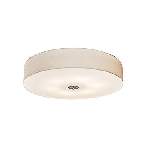 QAZQA Landhaus/Vintage/Rustikal/Modern Ländliche Deckenleuchte/Deckenlampe/Lampe/Leuchte weiß 70 cm - Drum mit Schirm Jute/Innenbeleuchtung/Wohnzimmerlampe/Schlafzimmer/Küche Glas /