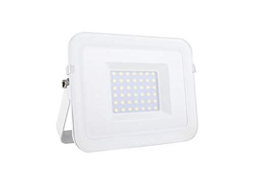 LED Fluter mit Befestigungsbügel zur Fassadenbeleuchtung, Outdoor Strahler weiß flaches Design, Außenwandleuchte 30Watt, IP65