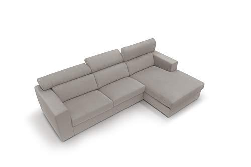 Sofá fijo de tela suave totalmente desenfundable, modelo Titan de 3 plazas o esquinero con chaise longue derecha o izquierda, estructura de madera, fabricado en Italia, (ángulo derecho, 271 cm)