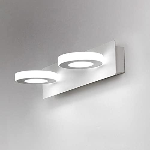 Luces de espejo de vanidad blancas LED, lámpara de escoce de pared de baño, iluminación de cuadros de marco, lámparas montadas en la pared de 2 ligeras sobre gabinete de espejo para baño de baño.