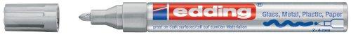 edding 750 Glanz-Lack-Marker Rundspitze - Kreatives gestalten von fast allen Oberflächen (Z.B. Glas, Karton, Dunkles Papier, Keramik, Stein), silber
