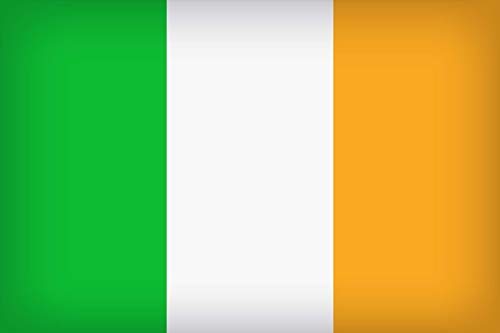 KiipFlag Bandera de Irlanda Ireland Flag, Color Vivo y Resistente a la Decoloración UV, Cabecera de Lona y Doble Costura, Poliéster con Ojales de latón, 150 X 90 cm