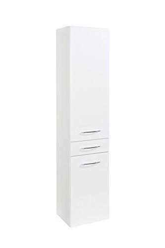 lifestyle4living Badezimmerschrank in Weiß, Hochglanz, schmal | Hochschrank mit 2 Türen, 1 Schubkasten und 4 Einlegeböden