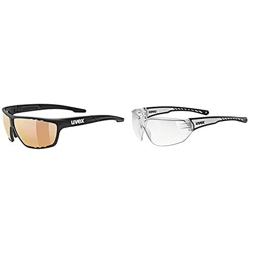 Uvex Unisex– Erwachsene, sportstyle 706 cv vm Sportbrille, kontrastverstärkend, selbsttönend, black mat/red, one size & Unisex– Erwachsene, sportstyle 204 Sportbrille, clear/clear, one size