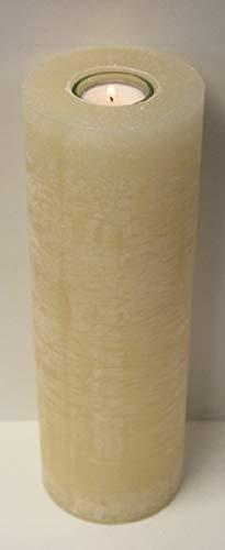 Rustic Kerzen Creme 30 x 10 cm, mit Teelichteinsatz incl. Teelicht und Teelichtglas, Kerze zum verzieren von Taufkerzen, Hochzeitskerzen