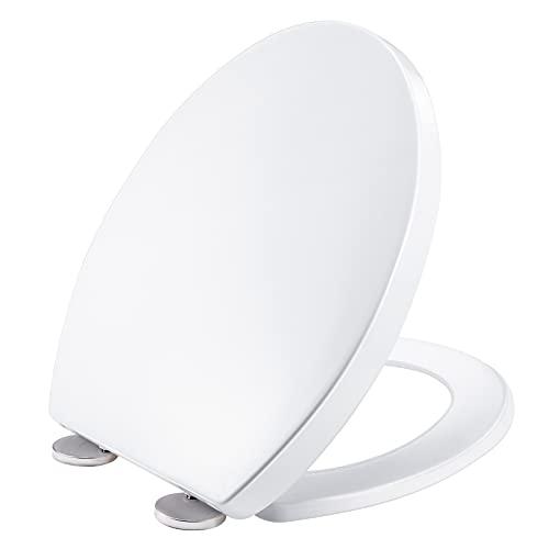 Tapa WC, XDHEK asiento de inodoro universal asiento wc forma ovalado con Función de Cierre Suave Desmontaje Rápido Bisagras Ajustables una Fácil Limpieza antibacteriano ( 450 x 375 x 45 mm )