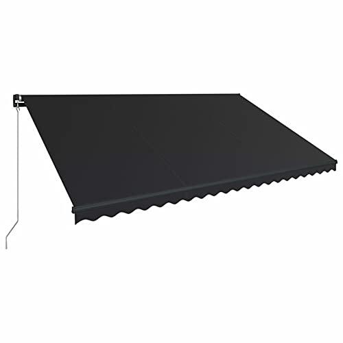 Tidyard Toldo Manual Retráctil con Tira LED Impermeable Protección Solar Patio Lona Parasol Porche Jardín Sombra Exterior Terraza Gris Antracita 500x300 cm