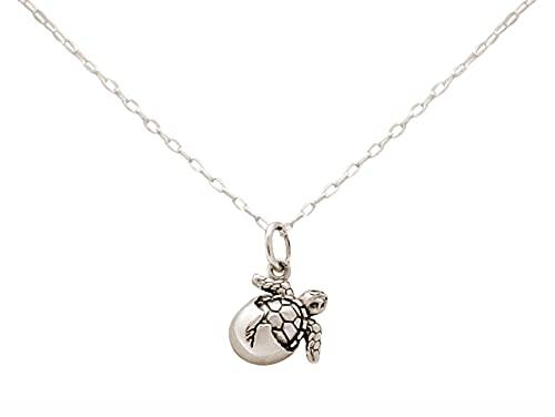 Gemshine Maritim Nautics Halskette mit Baby Schildkröte aus 925 Silber, hochwertig vergoldet oder rose im Navy Stil - Nachhaltiger, Qualitätvoller Schmuck, Metall Farbe:Silber