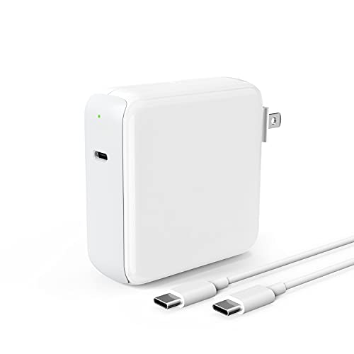 96W USB-C Power Adapter Charger for Mac Book Pro 16/15/13 inch 2018/2019, MacBook Air 2020 New 13inch, iPad Pro 12.9 11 inch 2020/2018, Galaxy, Pixel, Thunderbolt 3 Port, LED, 6.6ft 5A USB-C to C Cord