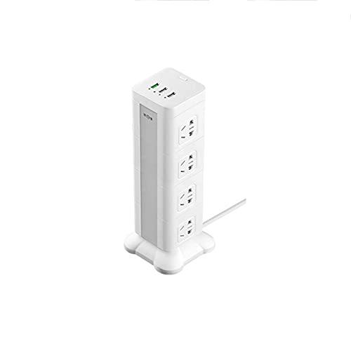 Regletas Eléctricas Enchufe Vertical con función de Carga, batería de Litio Enchufe USB multifunción Enchufe estéreo para Oficina de Escritorio,White,2.8M