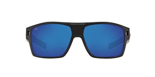Costa Del Mar Men's Diego Rectangular Sunglasses, Matte Black/Grey Blue Mirrored Polarized, 62 mm