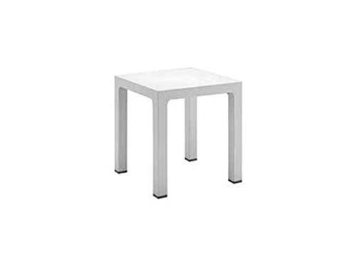 Mesa para casa y jardín de polipropileno blanco, fabricada en Italia, mesa para exteriores, cuadrada 70 x 70 cm, color blanco