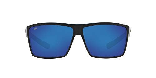 Costa Del Mar Men's Rincon Sunglasses, Shiny Black/Grey Blue Mirrored Polarized-580G, 63 mm