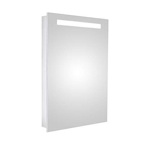 HAPA Design Spiegelschrank San Marino Aluminium Superflach mit LED Beleuchtung, Steckdose und verstellbaren Glasablagen, Türanschlag rechts (50 x 70 x 10 cm Scharnier rechts)
