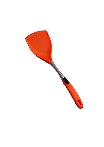 Nuobaby spatel van silicone, hittebestendig, met kern dik food grade silicone mute-spatel kleur oranje.