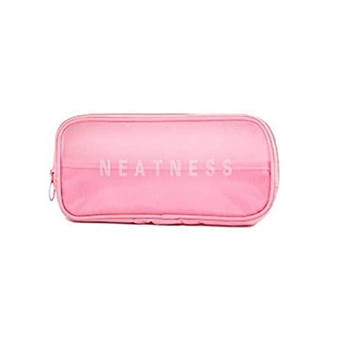 Travel Cosmetic Bag Women Zipper Maquillaje de maquillaje transparente Estuche Organizador Almacenamiento Bolsas Bolsas de lavado de belleza Bolsas (Color : M Pink)