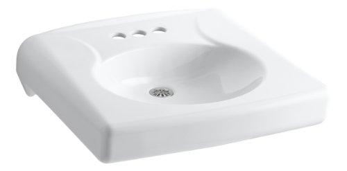 KOHLER K-1997-4N-0 Brenham Wall-Mount Bathroom Sink with 4' Centerset, Less Soap Dispenser Hole and Overflow, White