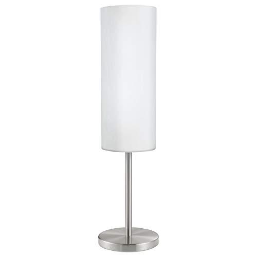 Eglo Lampe de Table Troy 3, Lampadaire à Flamme, Lampe de Chevet en Acier, Couleur : Nickel Mat, Verre : Satiné, Blanc, Douille : E27, Interrupteur Inclus