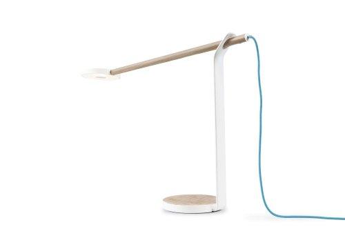 KONCEPT Gravy - Lámpara de escritorio (28 ledes), color roble blanco y blanco mate