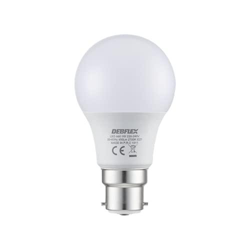 Ampoule Led - Ampoule Basse Consomm ation - Ampoule à Culot - Ampoule Flamm e - Equivalent ampoule halogene - DEBFLEX Ampoule LED 9 W A60 - Culot B22 2700 kelvin