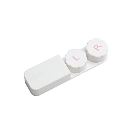 GLLP Lentes de Contacto Caja del compañero de la Caja portátil Simple Lente de Contacto de la Caja de contactos de Belleza Caja de Almacenamiento de atención (Color : White)