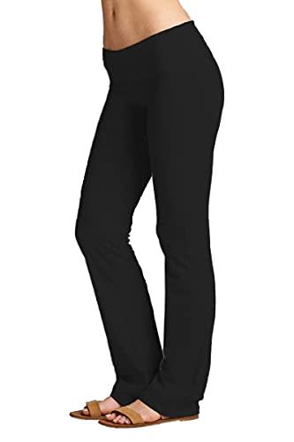 Hollywood Star Fashion - Pantaloni per yoga, da donna, in tinta unita, con fascia ribaltabile Nero M