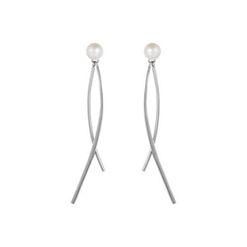 JJYGONG Pendientes de Perlas Artificiales Tassel Colgante Eardrops Pendientes Hechos a Mano Pendientes para Fiestas Y Bodas Retro