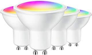 Smart LED-Strahler GU10 Lampe I 4er Set I 5 Watt I 420 Lumen I RGBCW I Wi-Fi Lampe I Inkl. App Steuerung I Mehrfarbig dimmbar I Handybedienung - kompatibel mit GOOGLE und ALEXA I iOS & Android