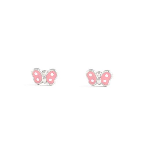 Monde Petit AG-2365-F - Pendientes niña Plata mariposa esmaltada en rosa y blanco
