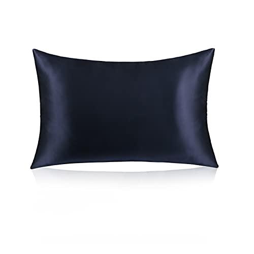 XIN NA RUI Fundas Cojines, 1 unids Seda pillownote Chino Mulberry 19 momle Lujoso estándar tamaño Reina con Cremallera Oculta (Color : Azul, Size : 50x80cm)