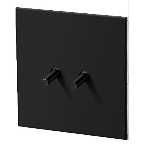 Yoaodpei Interruptor de Panel Plano Ultrafino Negro 86 Tipo Panel de Metal Oculto Interruptor de Palanca de latón Interruptor Retro Interruptor de lámpara de Pared del hogar 1-4Gang